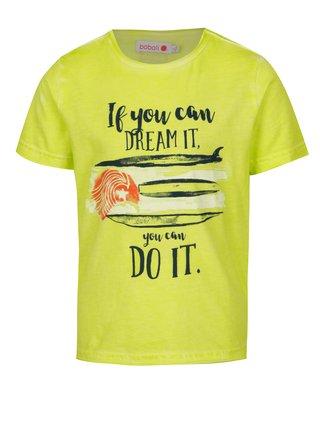 Žlté chlapčenské tričko s potlačou BÓBOLI
