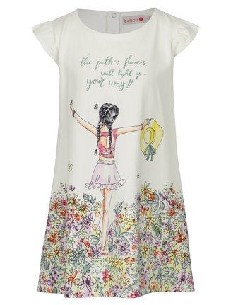 Krémové dievčenské kvetované šaty s potlačou BÓBOLI