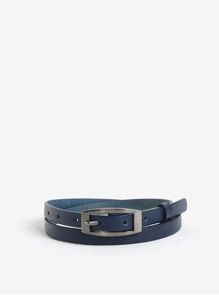 Tmavě modrý dámský úzký kožený pásek KARA
