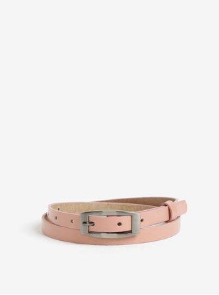 Růžový dámský úzký kožený pásek KARA