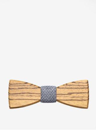 Papion din lemn maro & albastru - BeWooden Dolor