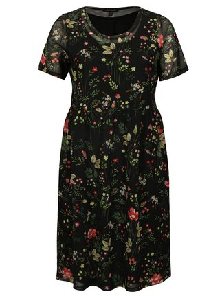 Čierne kvetované šaty Ulla Popken
