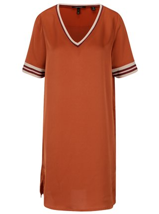 Oranžové voľné šaty s véčkovým výstrihom Scotch & Soda