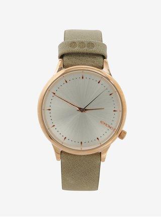 Dámske hodinky v zlatej farbe s koženým remienkom Komono Estelle