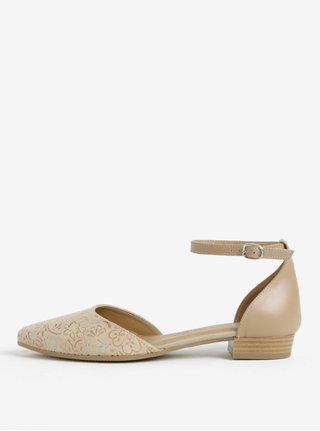 Sandale bej din piele intoarsa cu print floral - Tamaris
