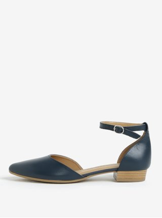 Sandale bleumarin din piele naturala cu bareta pe glezna -Tamaris