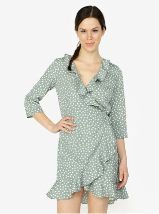 Mentolové vzorované zavinovací šaty s volány VERO MODA Henna