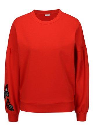Bluza rosie cu maneci balon si broderie Jacqueline de Yong Bille