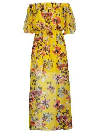 Žlté kvetované maxišaty s odhalenými ramenami French Connection Linosa