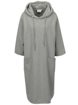 Šedé oversize mikinové šaty s kapucí a 3/4 rukávem Zizzi