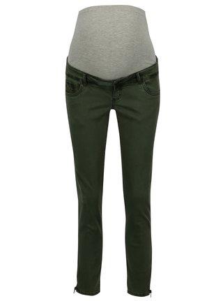 Khaki těhotenské slim džíny s otrhaným efektem Mama.licious Zeal