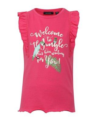 Růžové holčičí tílko s potiskem a volány na ramenou Blue Seven