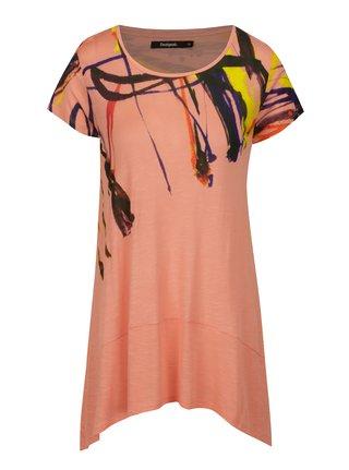 Tricou roz lung asimetric cu print abstract - Desigual Aristo