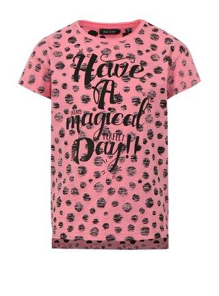 Ružové dievčenské bodkované tričko s potlačou Blue Seven