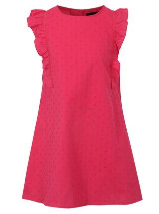 Tmavě růžové šaty s drobným vzorem a volány Blue Seven