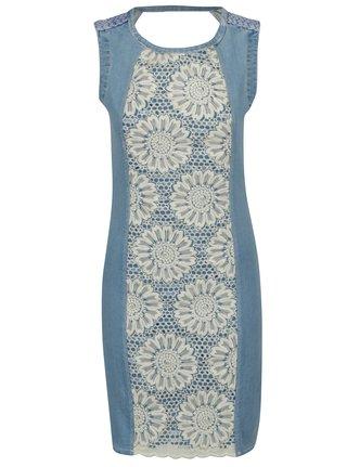 Svetlomodré rifľové šaty s kvetovanou výšivkou Desigual Agatho