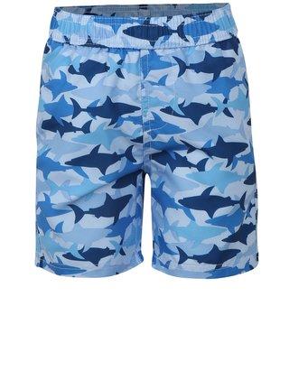 Modré chlapčenské plavky s potlačou žralokov Blue Seven