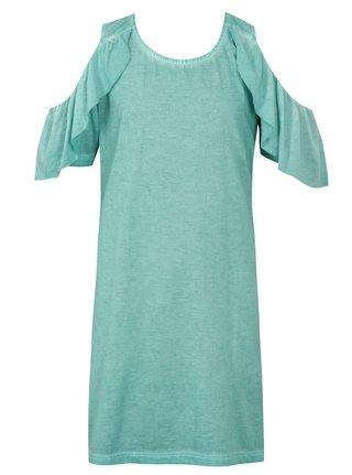 Mentolové holčičí šaty s průstřihy na ramenou Blue Seven
