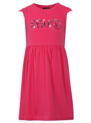 Ružové dievčenské šaty s nápisom Blue Seven