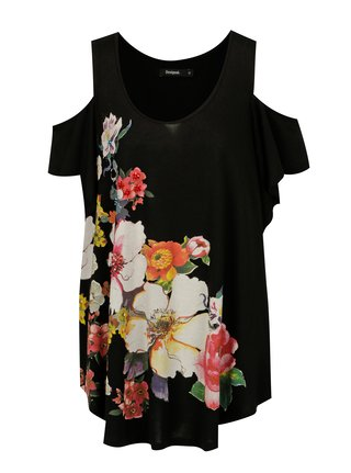 Černé dlouhé tričko s průstřihy na ramenou Desigual Kora
