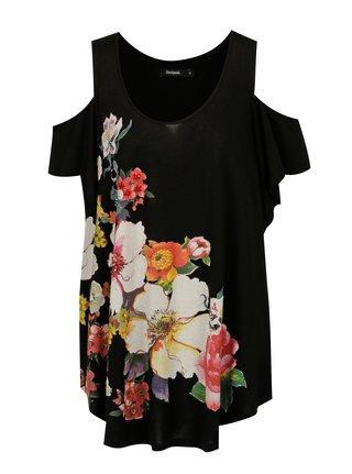 Bluza neagra cold shoulder cu pietre decorative cusute manual -  Desigual Kora