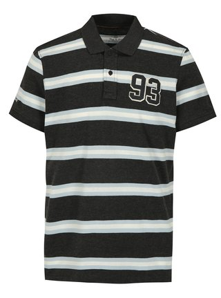 Tricou polo regular fit gri cu dungi Blend