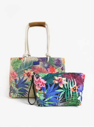 Geanta shopper bej  2 in 1 cu print tropical - Desigual Wanderlust Seattle
