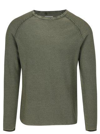Zelený rebrovaný slim fit sveter Blend
