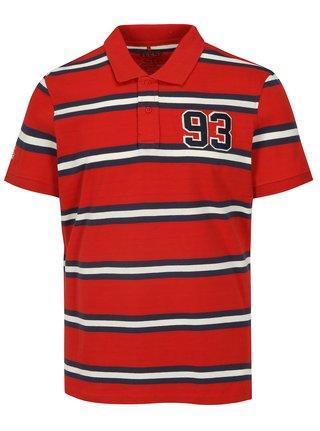 Modro-červené pruhované regular fit polo tričko Blend