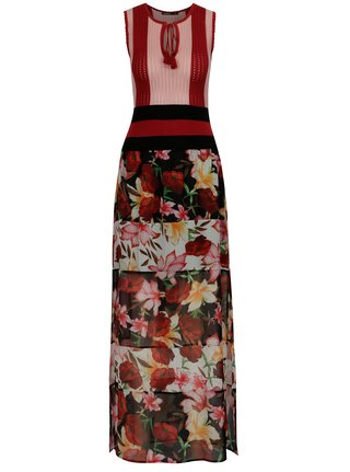 Rochie maxi rosu&roz cu print floral si model in relief - Desigual Bye Bye Love