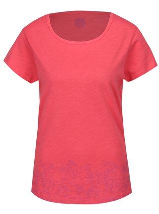Růžové dámské tričko s kulatým výstřihem a potiskem LOAP Balisey