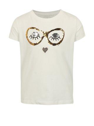 Krémové dievčenské tričko s magickými flitrami name it Fille