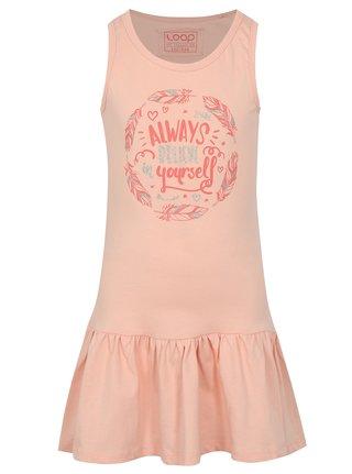 Svetloružové dievčenské šaty s potlačou LOAP Itilina