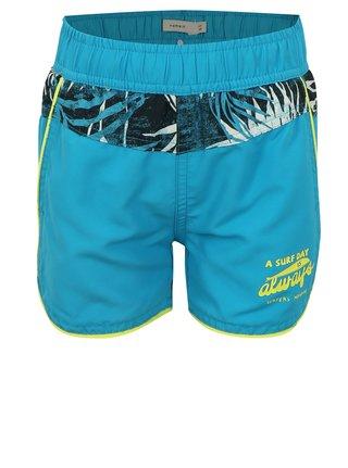 Modré chlapčenské plavky s havajským vzorom name it Mzoni
