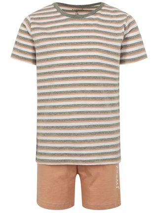 Marhuľovo-sivé chlapčenské pruhované  dvojdielne pyžamo s potlačou name it Night