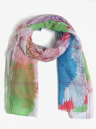 Světle růžový vzorovaný šátek Desigual Flowers aced025551