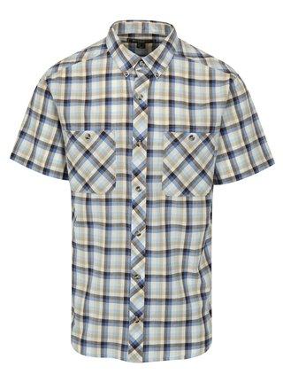 Krémovo-modrá pánska károvaná košeľa BUSHMAN Creole