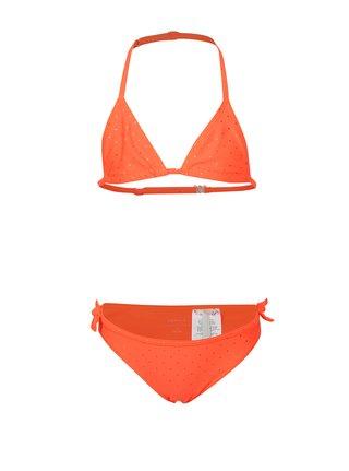 Neonově oranžové holčičí puntíkované dvoudílné plavky name it Zolid