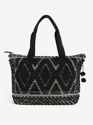 Geanta shopper negru&crem cu model geometric Pieces Cillen