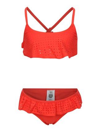 Červené dievčenské dvojdielne plavky s volánmi tuc tuc Stars