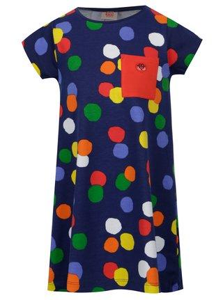 Tmavě modré holčičí šaty s barevnými puntíky tuc tuc Jersey