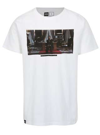 Tricou alb cu print imagine Dedicated Scarface Little Friend