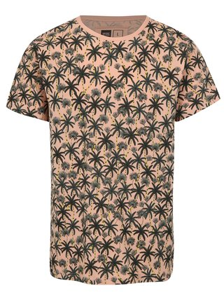 Tricou roz cu print palmieri Dedicated Beach Palms