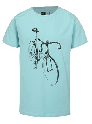 Tricou turcoaz cu print desen cu bicicleta Dedicated Drawn Bike