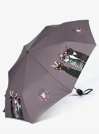 Sivý skladací dáždnik s potlačou Doppler