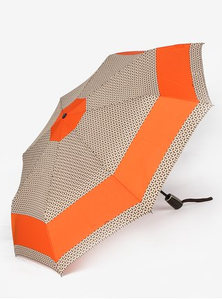 Umbrela telescopica si pliabila cu print abstract oranj & bej - Doppler