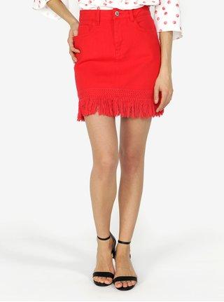 Červená rifľová sukňa so strapcami Miss Selfridge