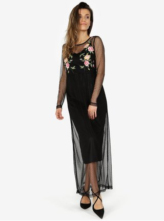 Rochie neagra din plasa cu broderie florala 2in1 VERO MODA Layden