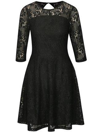 Čierne čipkované šaty s 3/4 rukávom Dorothy Perkins