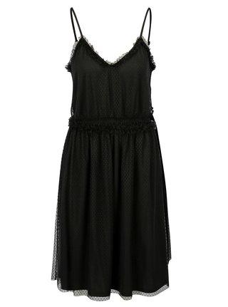 Čierne bodkované šaty na ramienka VILA Mindi